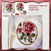 Anniversary rose card with decoupage