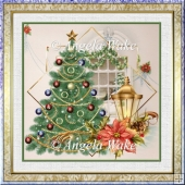 Christmas tree lights the window 7x7 card with decoupage
