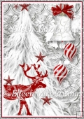 Traditional Red and Silver Christmas Backing Background Paper