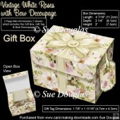 Gift Box Vintage White Roses with Bow Decoupage