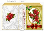Pretty red poinsettias with red bow in glitter frame folded book