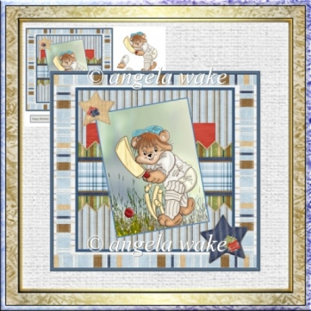 A Game of cricket 7x7 card with decoupage