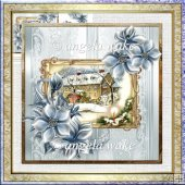 Visitors arriving 7x7 card with decoupage