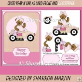 CDS82 Bear N Car A5 Card Front with Decoupage