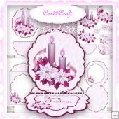Pink Christmas candle oval easel card set