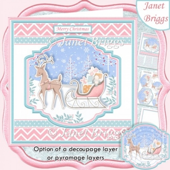 DEER & SLED 7.5 Christmas Decoupage Pyramage & Insert Card Kit