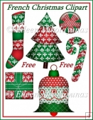 FREE French Christmas Fleur-de-Lis Clipart Embellishments