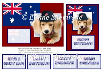 Australia Puppy Dog & Australian Flag - Card Toppers & Greetings