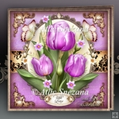 Spring Summer Lilac Tulips Card Mini Kit