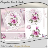 Magnolia, Lace & Pearls Card Front/Topper