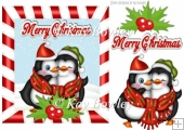 cuddle penguins with holly in candy cane frame