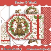 Reindeer & Wreath - Octagan Tag Card