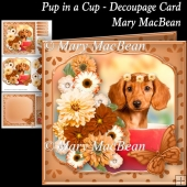 Pup in a Cup Decoupage Card