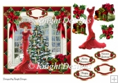 Christmas Elegance Card Front With Decoupage