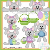 Spring Time Bunnies Grey Clip Art