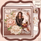 COFFEE N CREAM LADY & ROSES 7.7 Decoupage & Insert Mini Kit