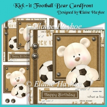 Kick-it Football Bear Cardfront with Decoupage