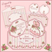Pink Bonnet Girl - Double Twist Easel Card