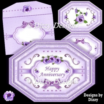 Purple Pansies Lozenge Shape Card