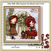 Girls With Gifts Square Christmas Card Front