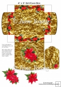 Christmas Gift Box - Gold Box with Poinsettias