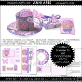 April Birth Flower and Gem 3D Cup and Saucer Set