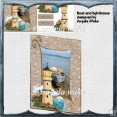 Boat and lighthouse card front