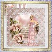 Art deco lady with a pink rose card and decoupage