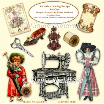 Victorian Sewing & Needlework Scraps Set One 300 dpi PNG CU/PU