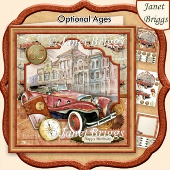RETRO CAR COPPER 8x8 Decoupage & Insert Kit Various Occasions