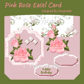 Pink Rose Easel Card