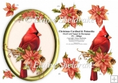 Christmas Cardinal & Poinsettia - 5 x 7 Oval decoupage Card Topp