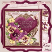 Pansy Heart & Verse for Wedding or Anniversary 8x8 Kit