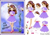 Its your Birthday! Fashion Girl By Moonlight Decoupage