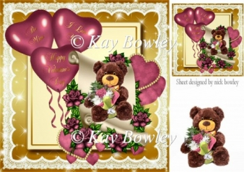 teddy bear on scroll with hearts and pink roses 8x8
