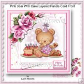 Pink Bear With Cake Layered Panels Card Front