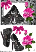 Black diamante shoes with pink rose A5