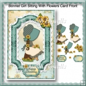 Bonnet Girl Sitting With Flowers Card Front