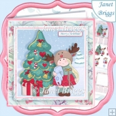 GIRL IN REINDEER HAT Christmas 7.5 Decoupage & Insert Kit