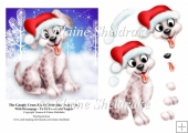 Googly Cross Eyed Christmas Puppy Dog With Decoupage