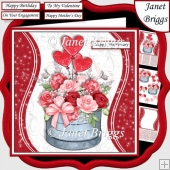 ROMANTIC BOUQUET 7.5 Decoupage & Insert Various Occasions