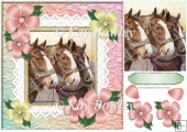 Three lovley horses with flowers, pyramid topper 8x8