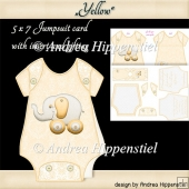 Baby Jumpsuit Shape Card yellow