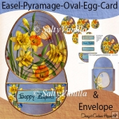 Easel Pyramage Oval Egg Shaped Card Easter Wishes