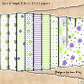 Lime & Purple Eclectic 12 x12 papers