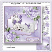 Puppy Love Lilac Card Front And Insert