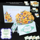 Yellow Roses - 3D Pop-Up Box Card Kit & Matching Envelope