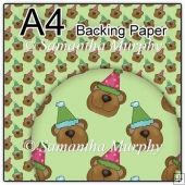 ref1_bp493 - Green Teddy With Party Hat
