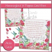 Hummingbird & Poppies Card Front