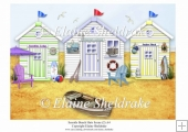 Three Lovely Beach Huts A4 Seaside Scene (2)